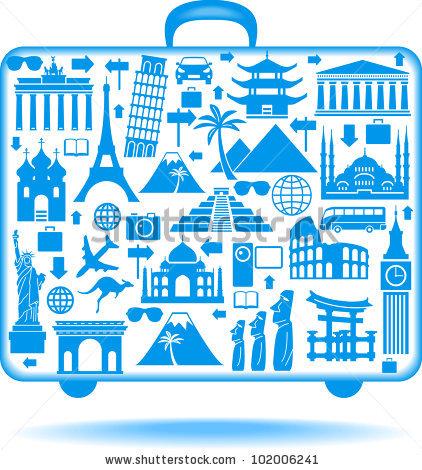 Around the world landmark clipart.