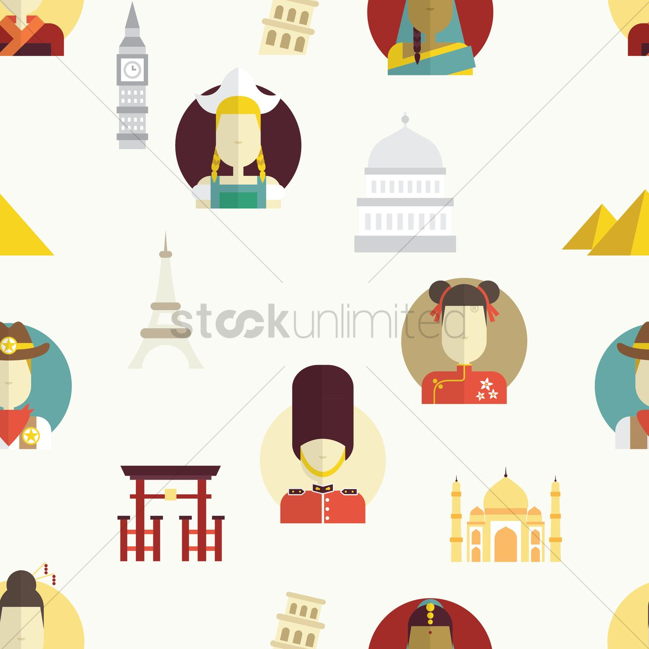 International landmark and culture background Vector Image.