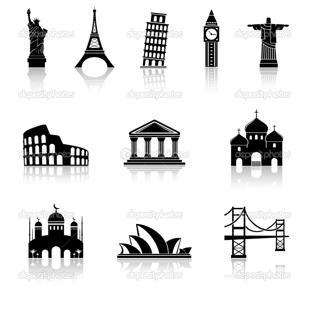 Famous international landmarks icons — Stock Vector © fad82 #37354867.