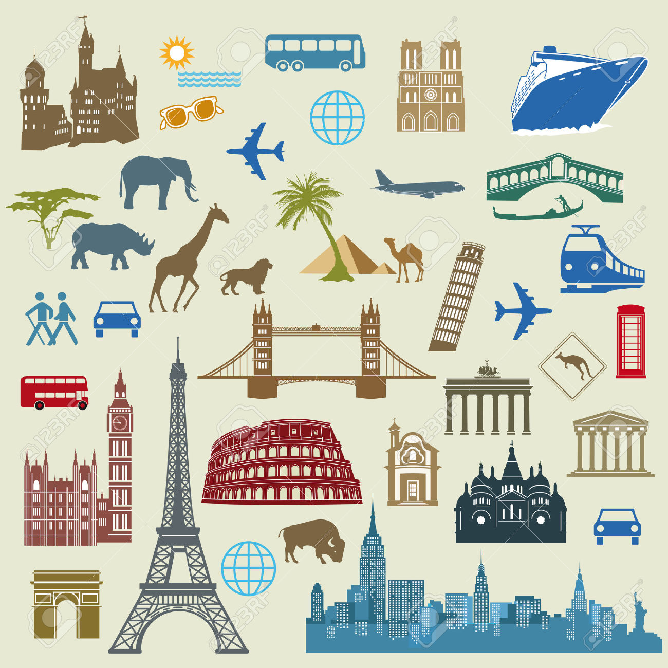 World Travel, Famous International Landmarks Royalty Free Cliparts.