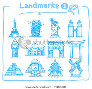 Drawn International Landmark Icons Clipart Picture.