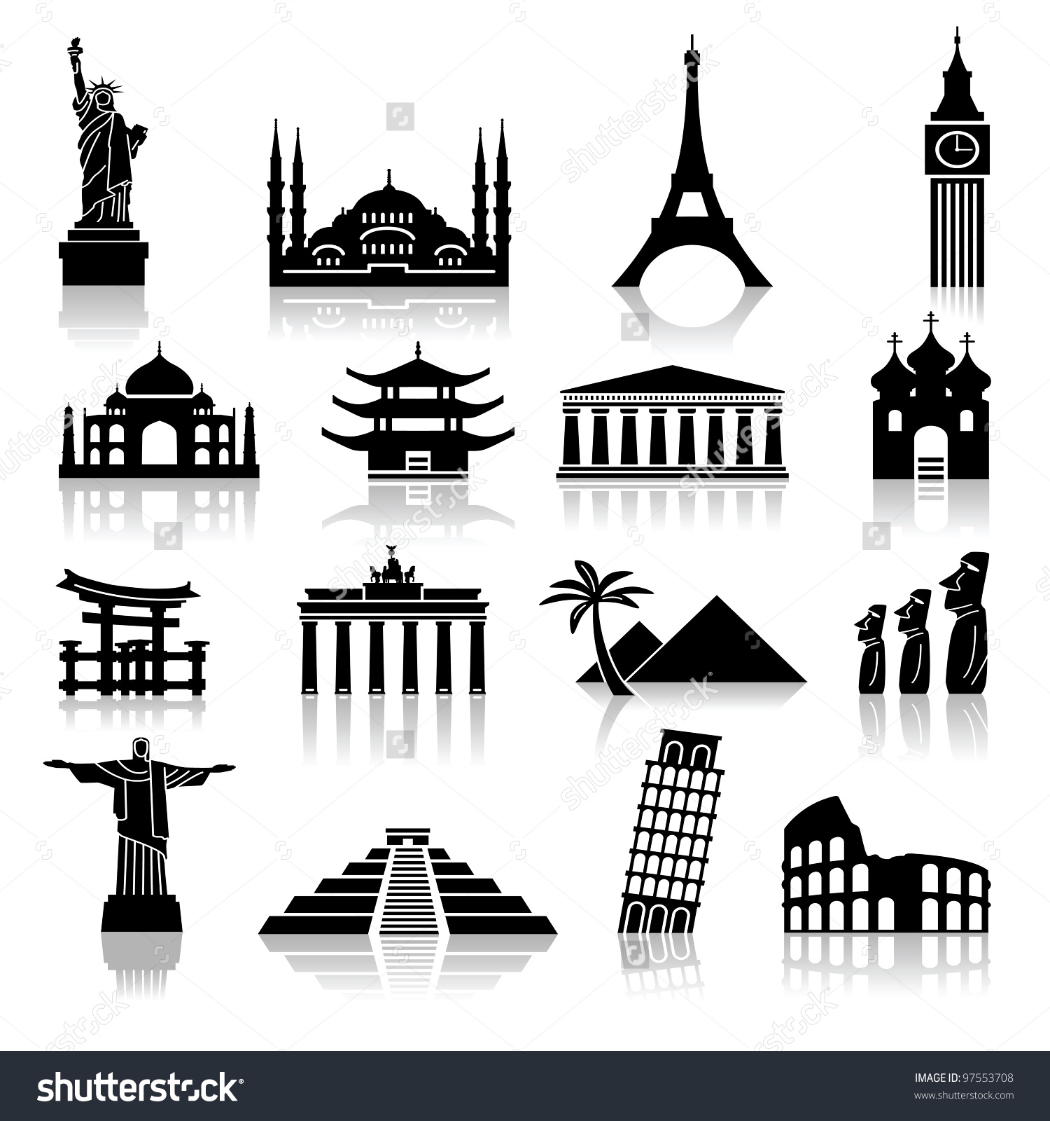 Set Icons On Topic Travel Recreation Stock Vector 97553708.