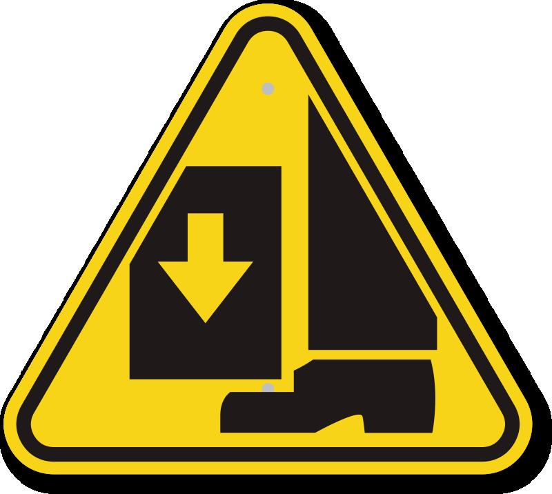 International Crushing Of Toes/Foot Hazard ISO Sign, SKU: IS.