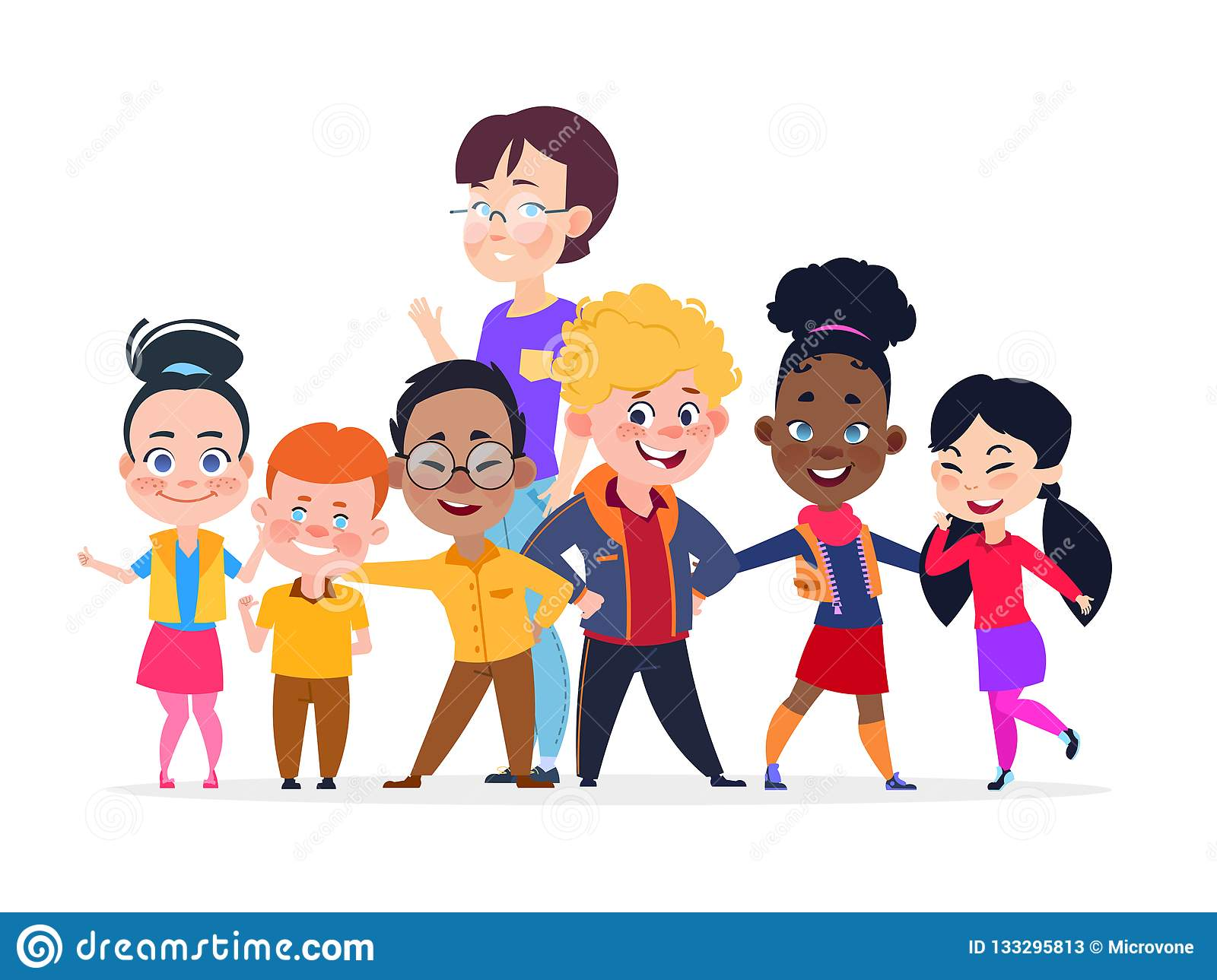 Happy International Students Group. Friendship Vector Concept Stock.