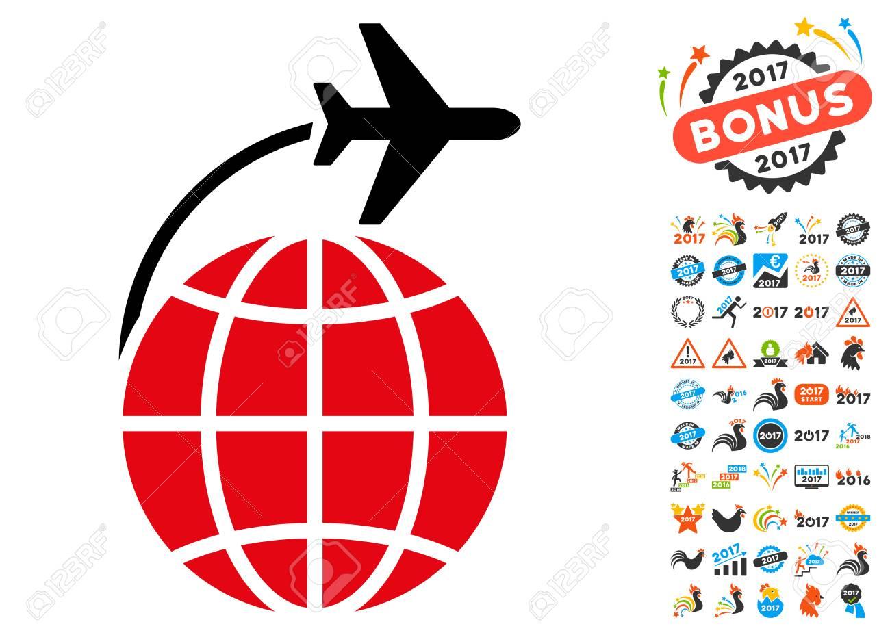 International Flight icon with 2017 year bonus glyph pictographs.