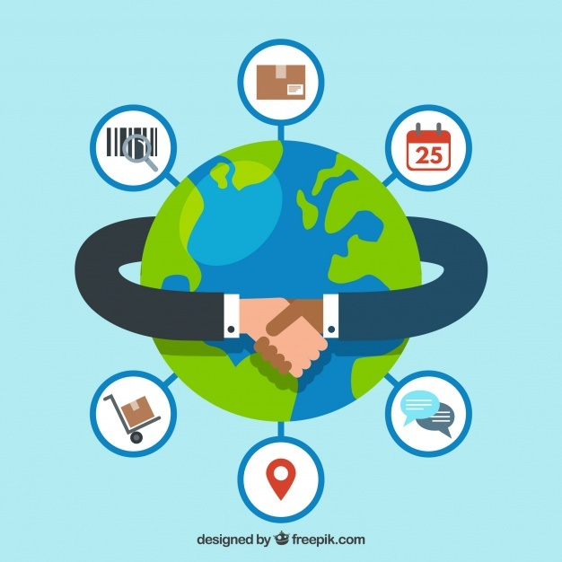Free International trade concept with flat design SVG DXF EPS PNG.