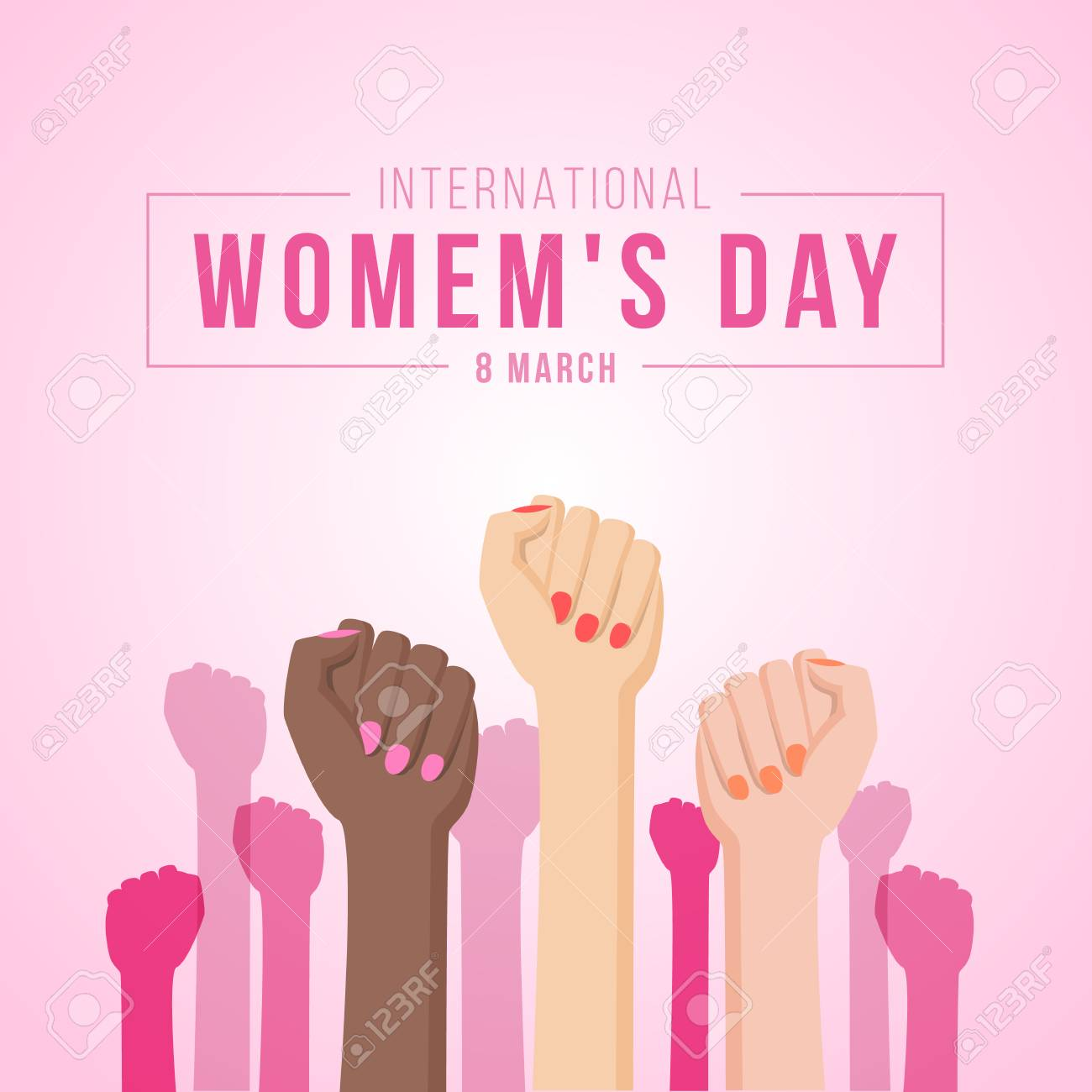 International women day with woman Fist hands.