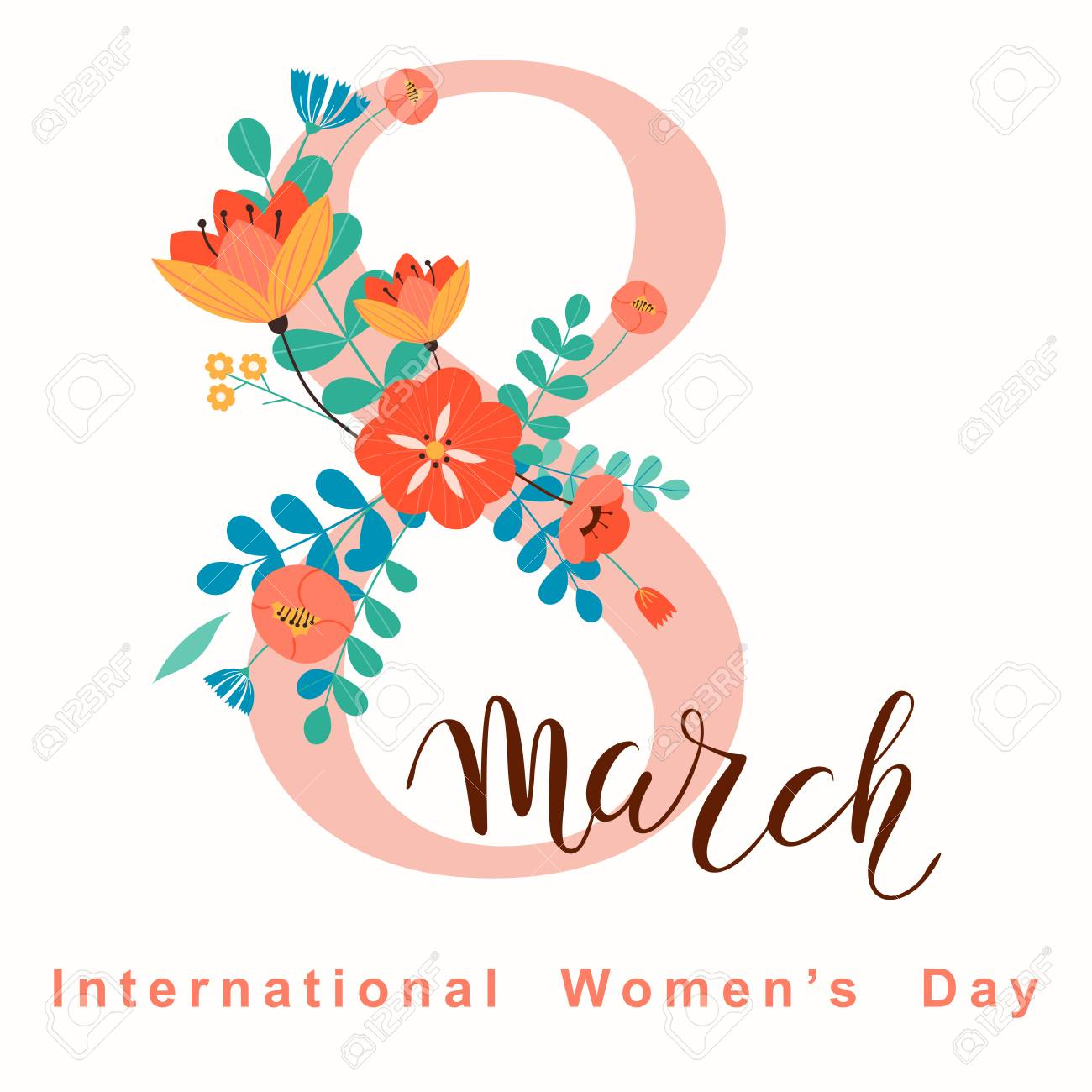 8 march, International Women's Day. Vector template with lettering...
