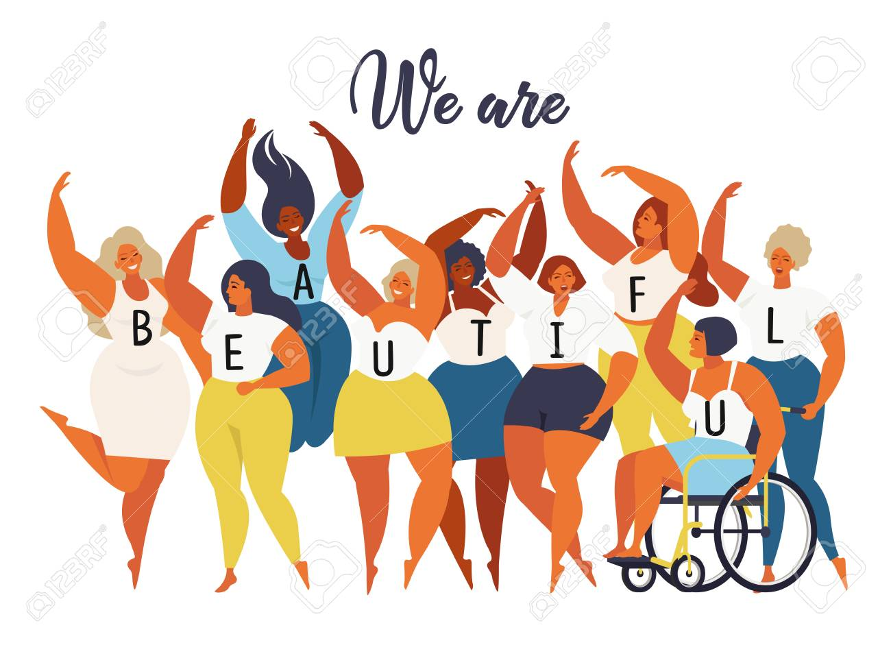 We are beautiful. International women day graphic in vector..