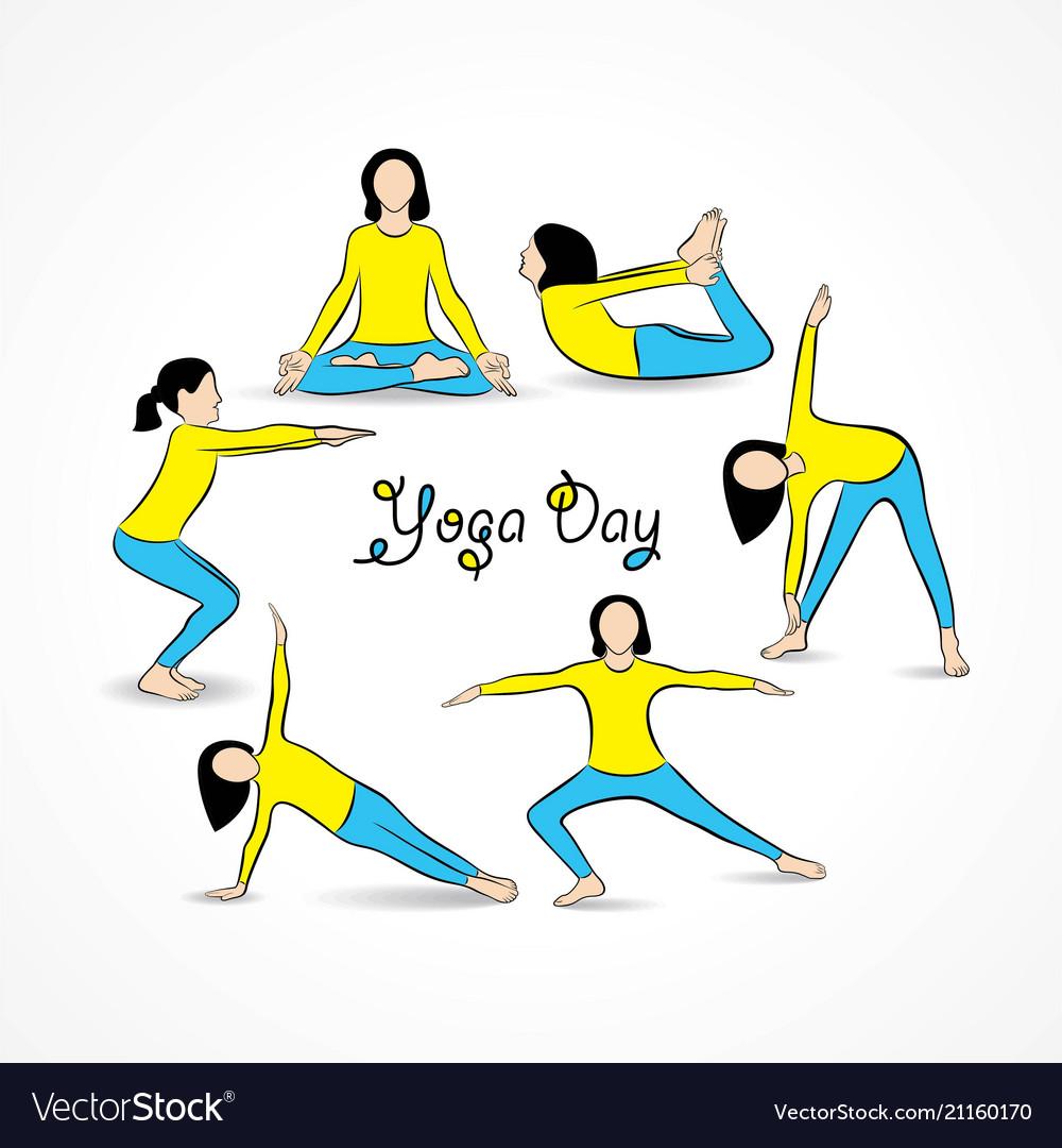 Woman international yoga day.