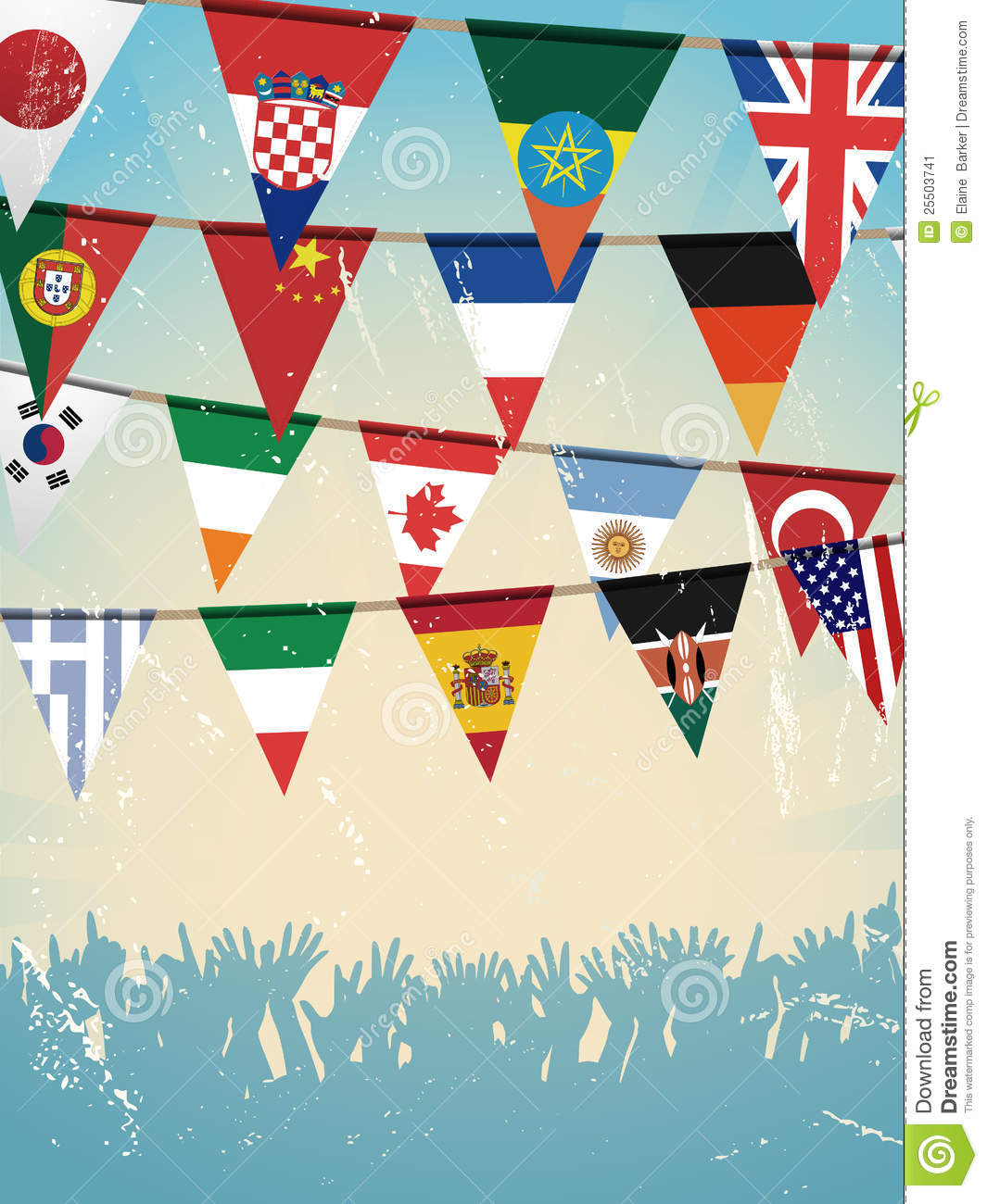 International flag bunting clipart.