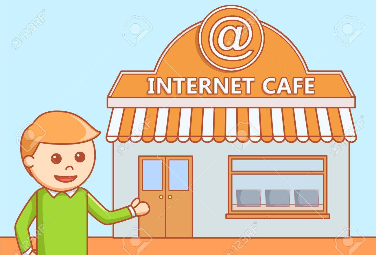 Internet cafe doodle illustration.