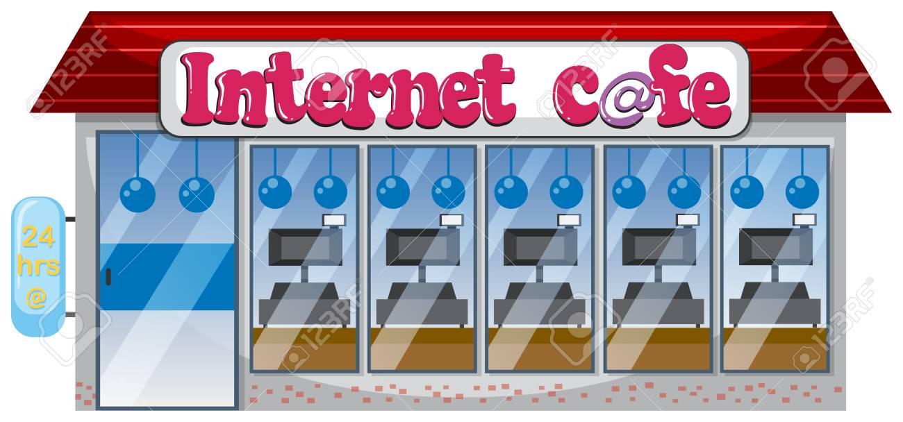 An internet cafe on white background illustration.