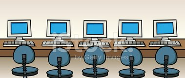 Internet Cafe Computers stock vectors.