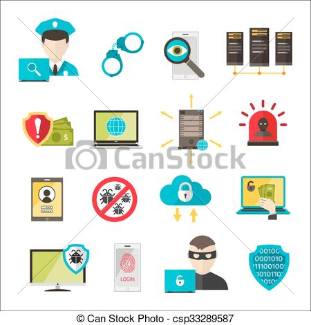 Vector of Internet safety icons virus cyber attack.