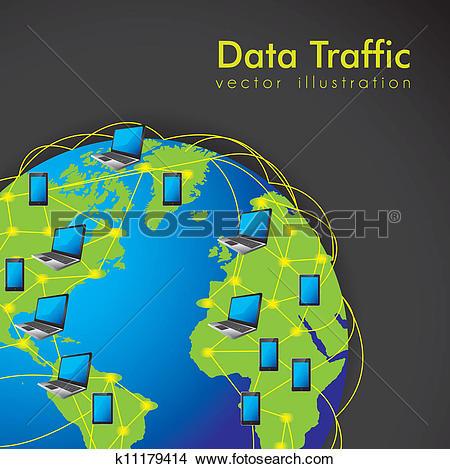 Clipart of Internet Data Traffic k11179414.
