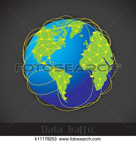 Clipart of Internet Data Traffic k11179253.