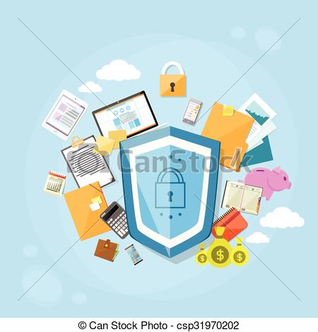 Vector Clipart of Shield Safe Data Protection Concept Privacy.