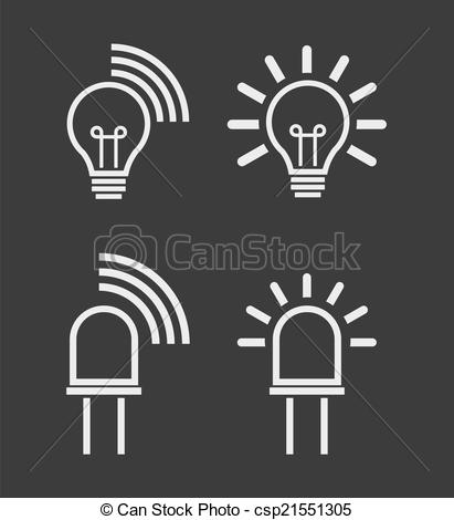 Vector Clipart of Light internet data transmission device icons.