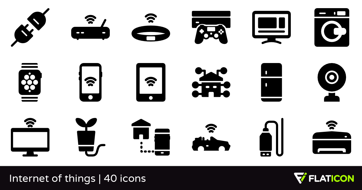 Internet of things 40 free icons (SVG, EPS, PSD, PNG files).