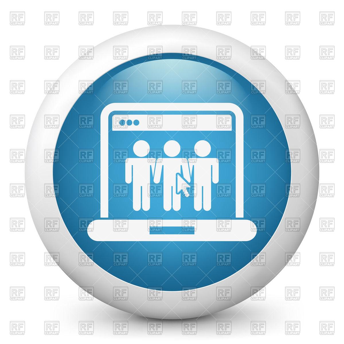 Blue round icon.