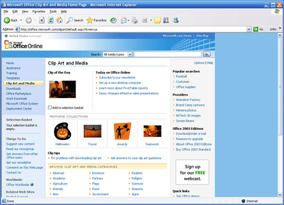 Microsoft Office Clipart And Media Home Page Url.
