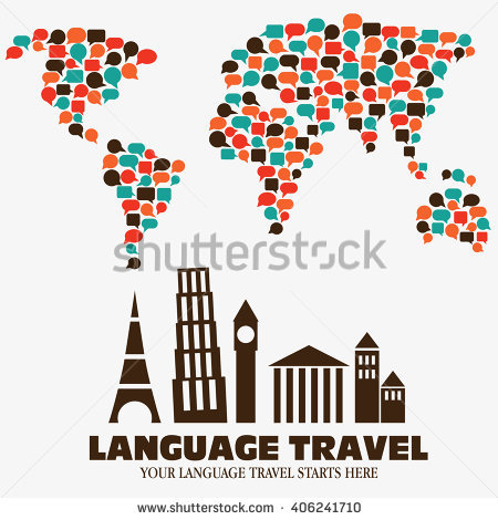 "Vector Illustration ""Your Language Travel Starts Here "". World Map."