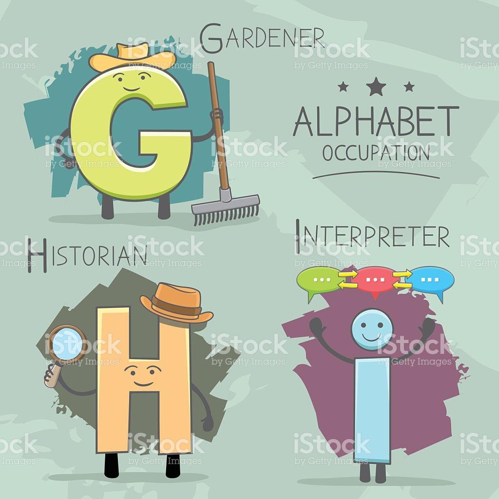Alphabeth Occupation Gardener Historian Interpreter stock vector.