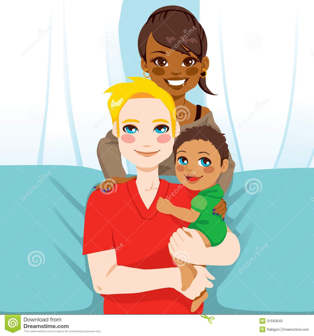 Interracial Family Clipart.