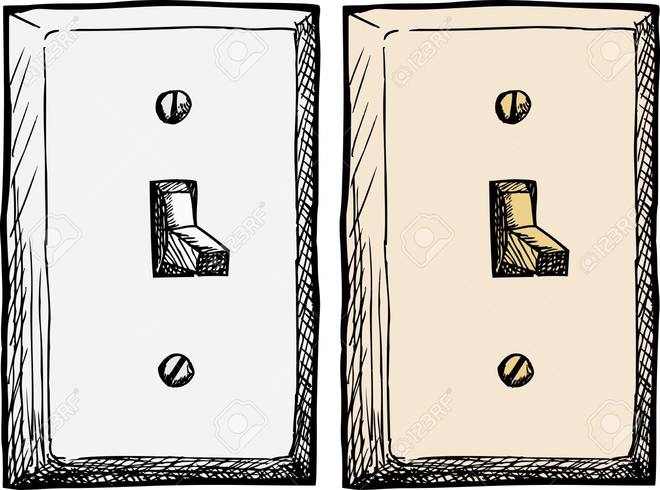 Drawing Of A Single Wall Light Switch At An Angle Royalty Free.