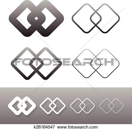 Clip Art of Symbolic link icon, symbols. Chain links, connection.