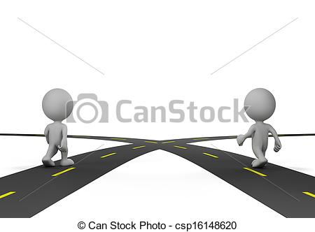 Two roads clipart.