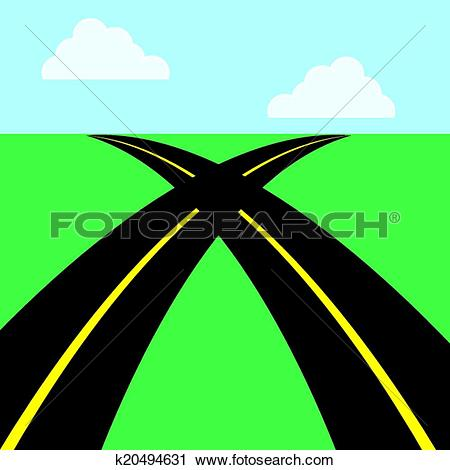 Clipart of Roads Intersecting k20494631.