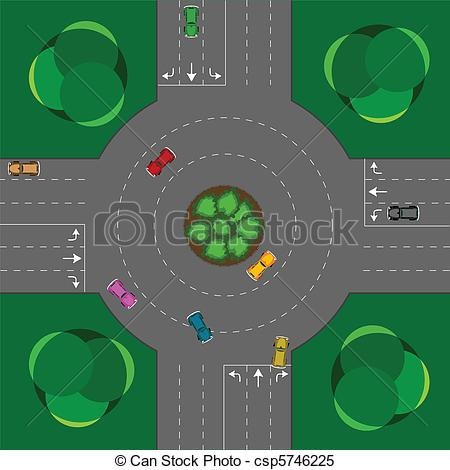 Clipart Vector of round intersection, cars and trees; abstract.