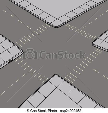 Clipart Vector of Empty Intersection Background.
