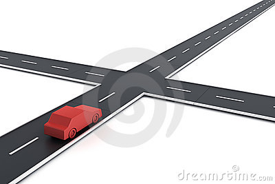 3d Illustration Of Simple Road Intersection. Stock Illustration.