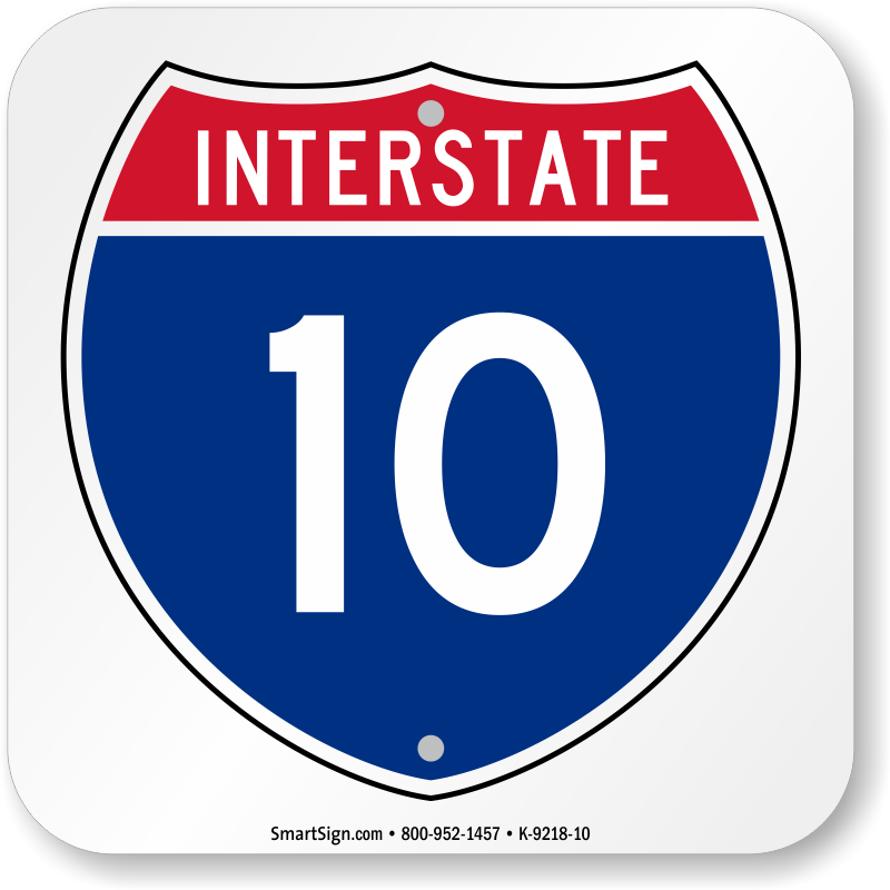 Interstate 10 Sign Clipart.
