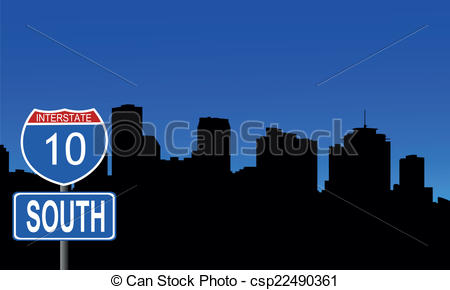 Clip Art Vector of New Orleans skyline interstate sign.