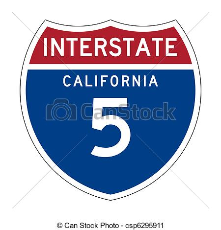 California Interstate Highway sign.