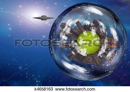 Drawing of Saucer craft near large interstellar city ship k4658163.