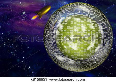Clipart of Retro space craft near large interstellar city ship.