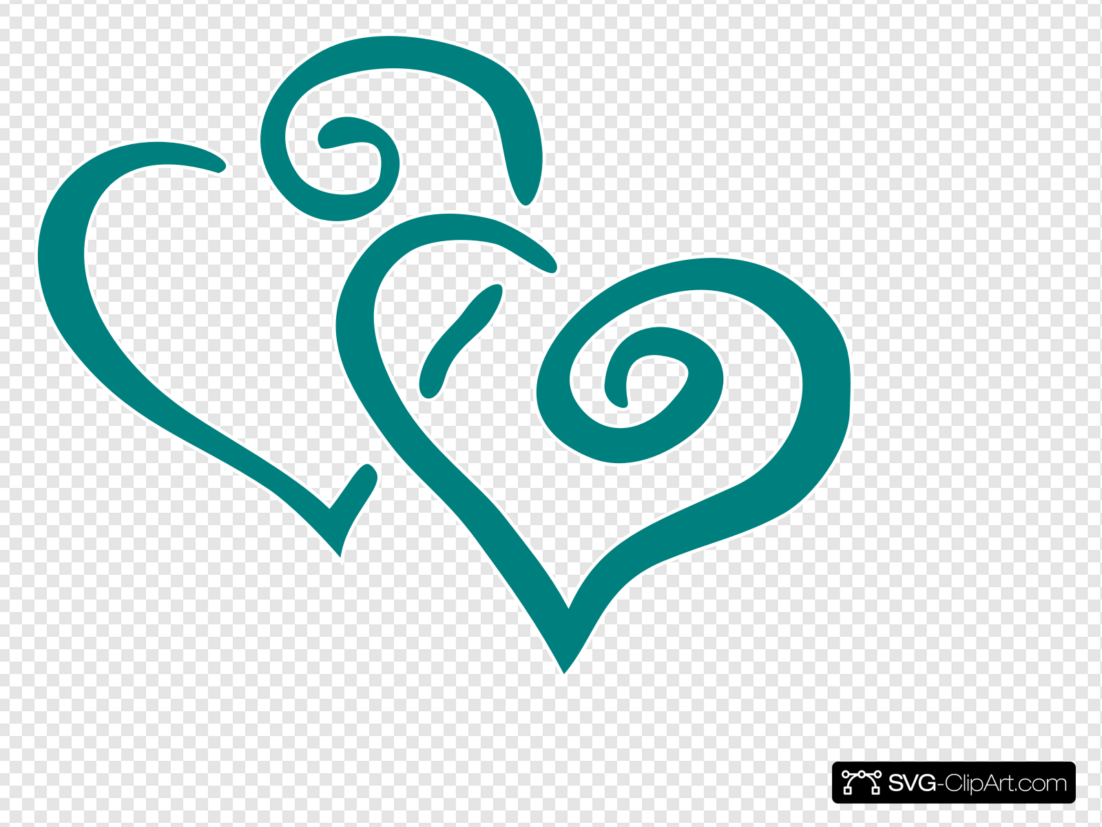Teal Intertwined Hearts Clip art, Icon and SVG.