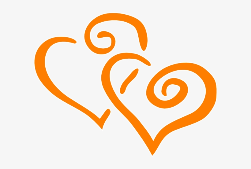 Orange Intertwined Hearts Clip Art.