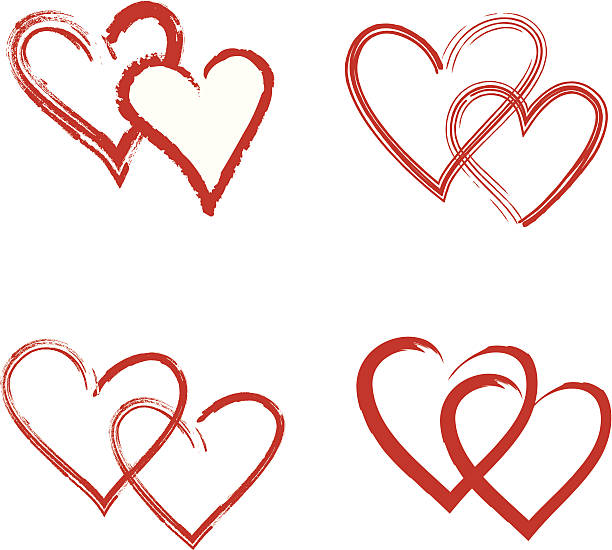 Cartoon Of A Intertwining Hearts Clip Art, Vector Images.