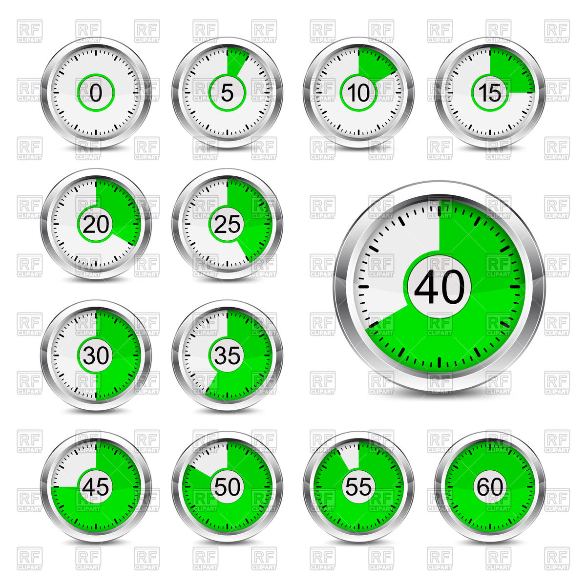 Set of timer icons with different time interval Vector Image.