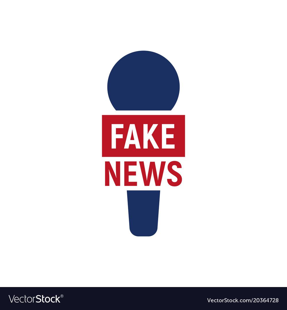 Fake interview logo abstract reporter microfon.
