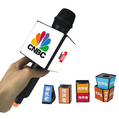 Customized LOGO TV Microphone Interview BIG Square Cube Mic DIY Flags  Station 698775893561.