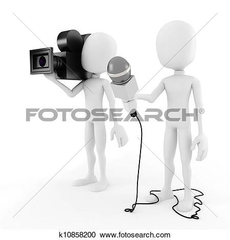 Clip Art of 3d man reporter.