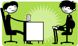 Job interviewer stress clipart.