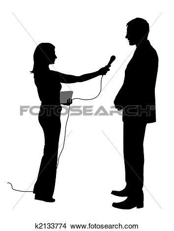 Stock Illustration of micro, interviewer, question, interview.